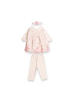 Vip Bebe Baby Life Çiçek Nakılış Üst, Taytlı ve Saç Bandlı Kız Bebek Elbise Elbise Takım